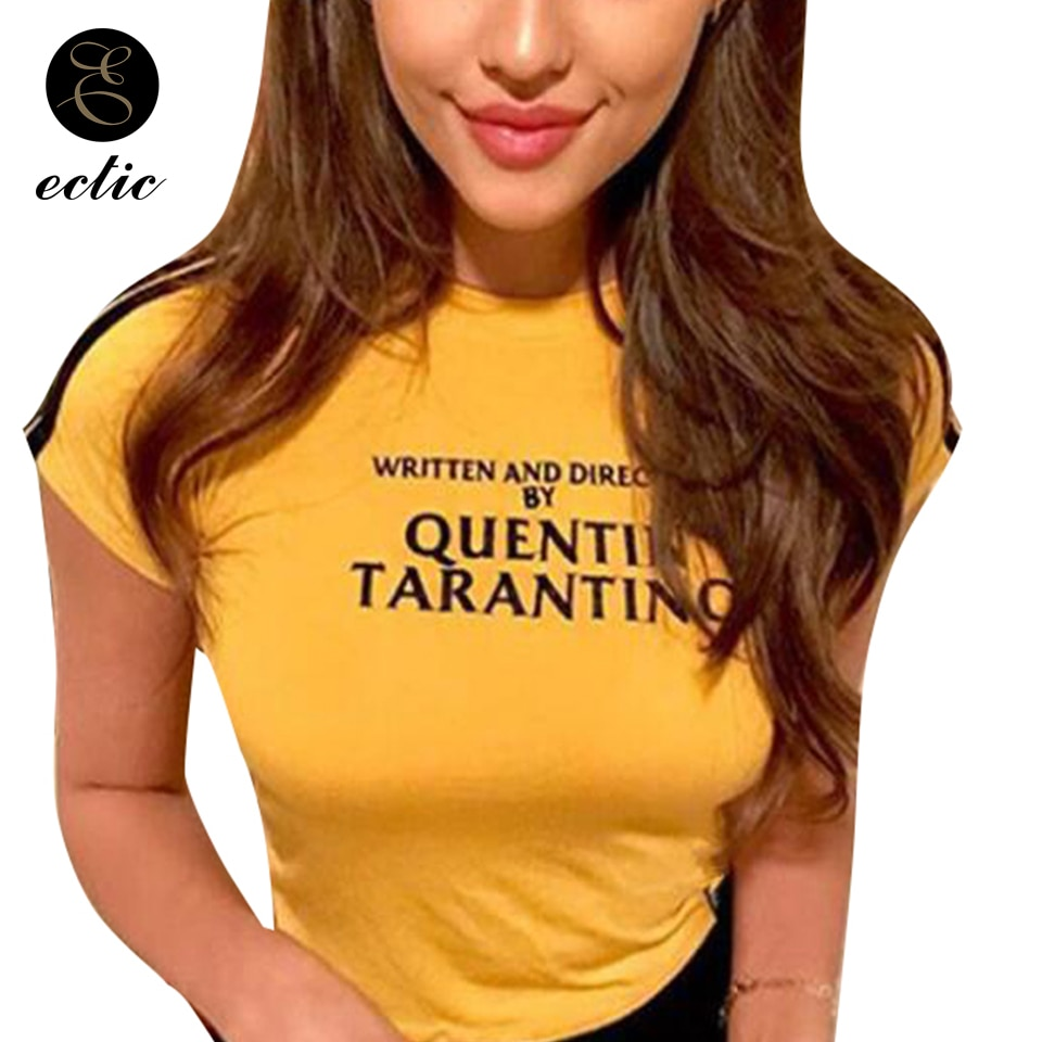 Kurz Strumpfhosen Frauen Vetement Femme 2019 Cropped Casual Crop Top Gelb T-shirt Geschrieben Und Regie Quentin Tarantino Hemd