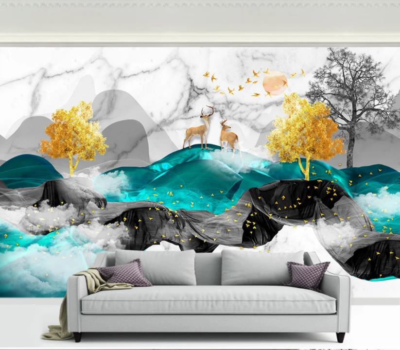 Пользовательские фото обои чернильный пейзаж 3D Настенные обои гостиная детская спальня фон настенная живопись настенные бумаги домашний д...