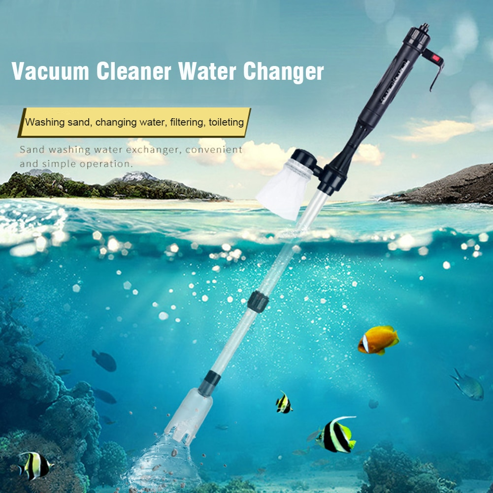 Cambiador de agua de acuario, práctico tanque de peces, aspirador de grava para piscina, tubo telescópico, bomba de sifón, filtro eléctrico de mano