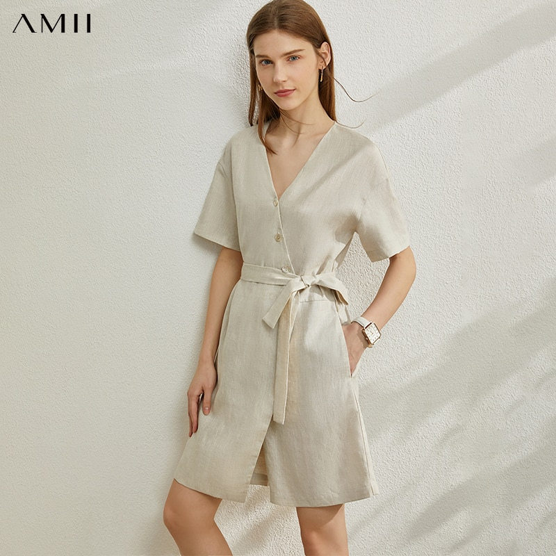 AMII بساطتها الربيع الصيف الكتان المرأة Drss السببية Vneck حزام تنحيف غير النظامية هيم أنثى فستان قصير 12040285