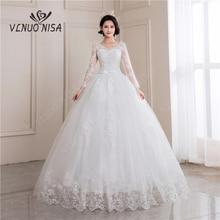Lace Wedding Dresses 2020 Long Sleeve V-neck Muslin Bridal Gowns Backless off white White Vestido de noiva Plus size custom-made