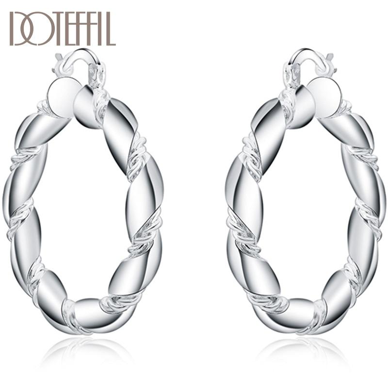 Серьги DOTEFFIL из стерлингового серебра 925 пробы, витая веревочная петля, 38 мм, круглые серьги-кольца для женщин, модные вечерние вечеринки, сва...