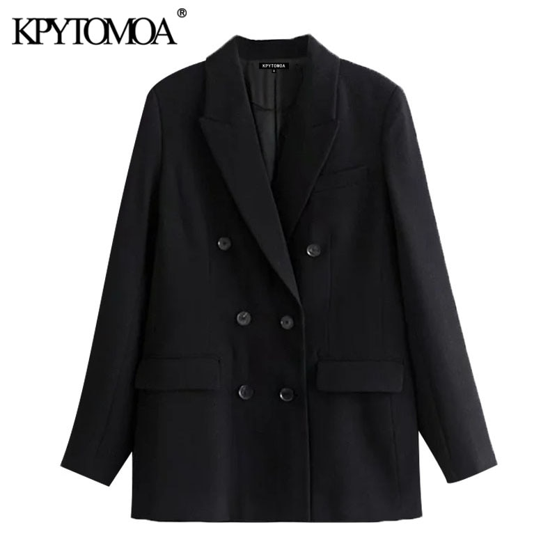 KPYTOMOA-سترة نسائية سوداء مزدوجة الصدر ، معطف عتيق ، أكمام طويلة ، جيوب ، ملابس خارجية أنيقة ، 2021