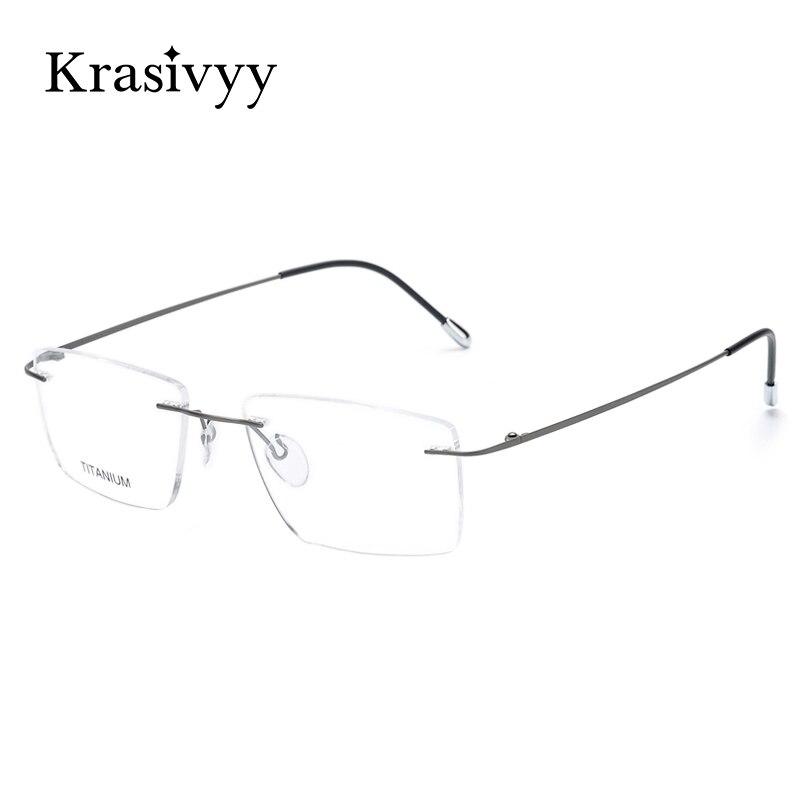 Krasivyy, gafas de titanio con montura para hombre, nuevo diseño europeo, gafas graduadas sin marco cuadradas, montura de gafas para mujer, 2020