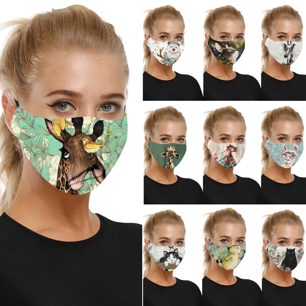 Маска для лица многоразовые моющиеся 3D принт защитный PM 2 5 Filetrs пыле маски ткани