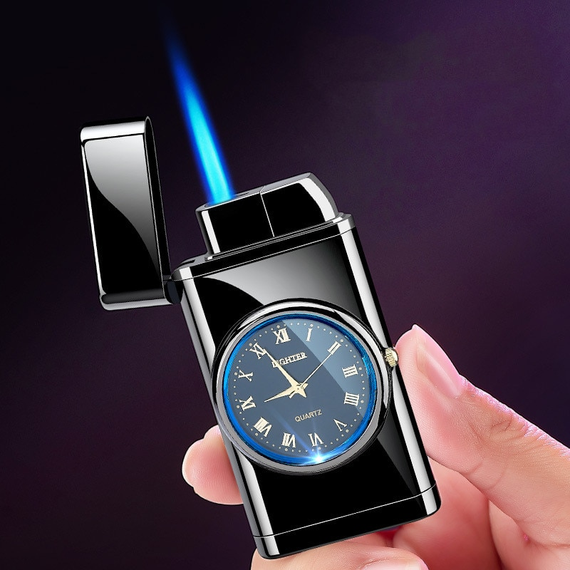 Watch Lighter Straight Into Inflatable Windproof Creative Electronic Watch Lighter Smoking Set Turbo Multifunction Lighter