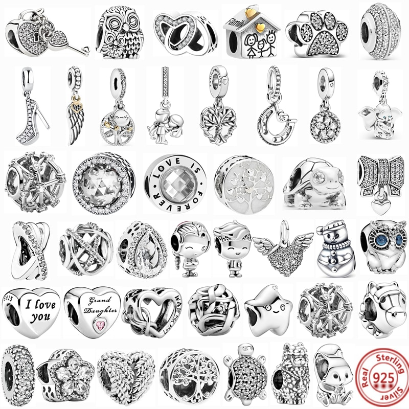 100% 925 Sterling Silver Feather Family Tree Snowflakes Boy Dangle Beads Fit Original Pandora Charms