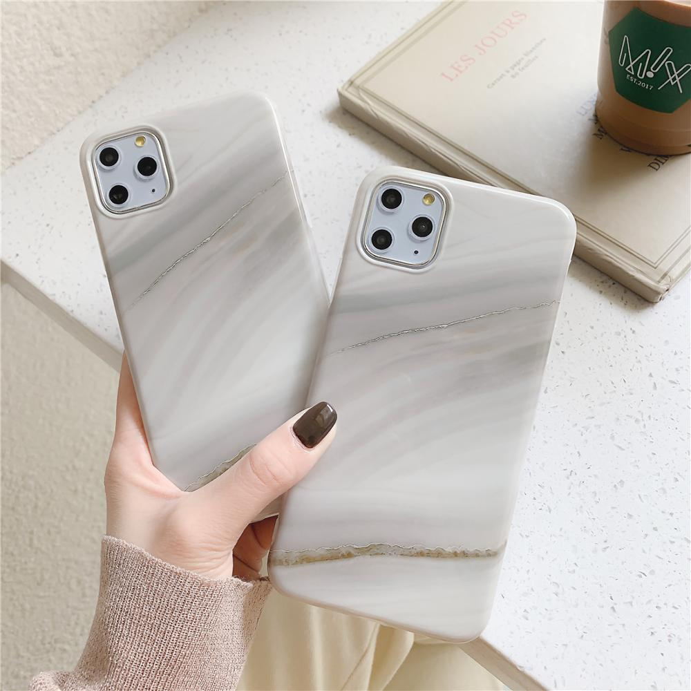 Funda de teléfono Vintage gradiente Simple blanco Beige mármol piedra para iPhone XR XS 11 Pro Max 6 6S 7 funda trasera suave 8 Plus X 10