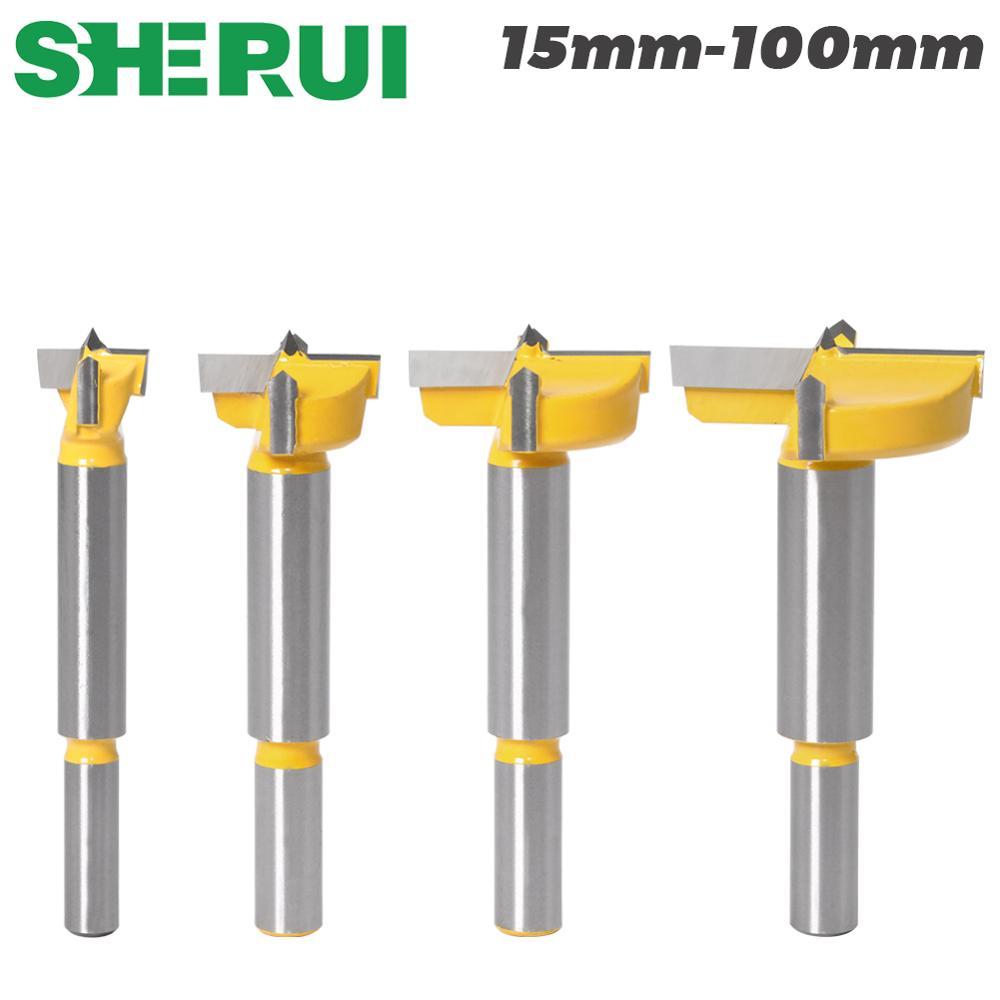 1 stks 15mm-100mm forstner tips houtbewerking gereedschap gatenzaag cutter scharnier, saai boren ronde schacht wolfraamcarbide cutte