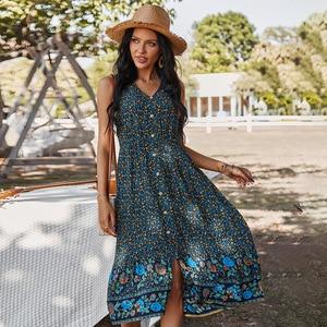 Yg Brand New Women's Clothing 2021 Summer New European And American Women's Waist Dress V-neck Printing Retro Casual Vest Skirt