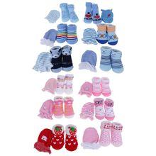 1 Set Baby Socks Gloves Prevent Scratch Face Warm Winter Autumn Soft Breathable Cartoon Cute Fashion Newborn Boys Girls Costume