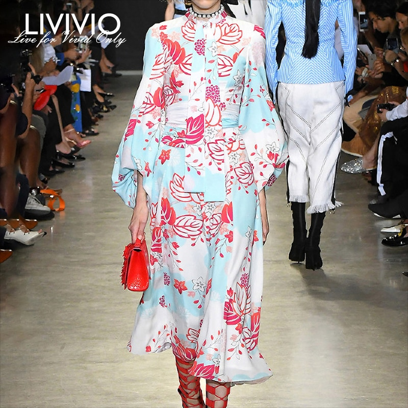[LIVIVIO] otoño estampado linterna manga larga cuello redondo cintura alta con faja vestidos de encaje para mujer 2019 otoño ropa de moda de nuevo