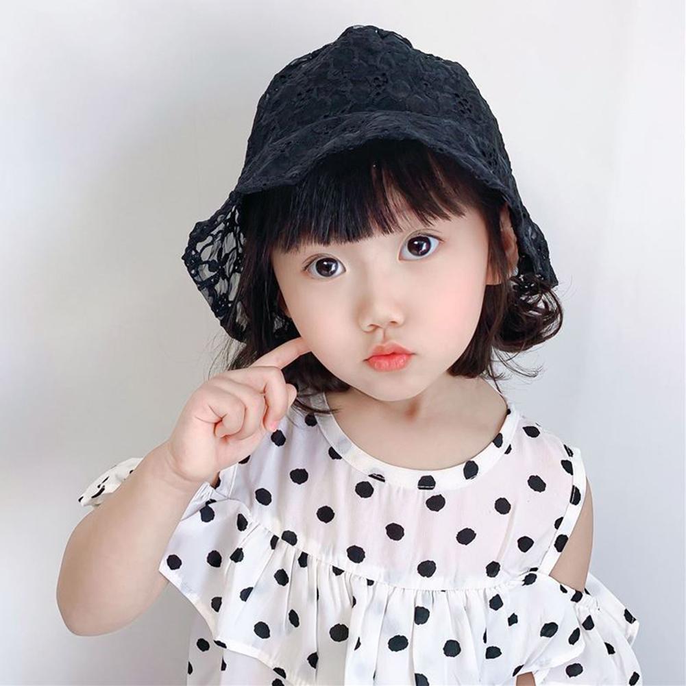 Niños niña Floral trébol estampado hueco encaje transpirable pescador Cap Busket Hat niños sombrero pescador gorra Busket sombrero niños Fisherm