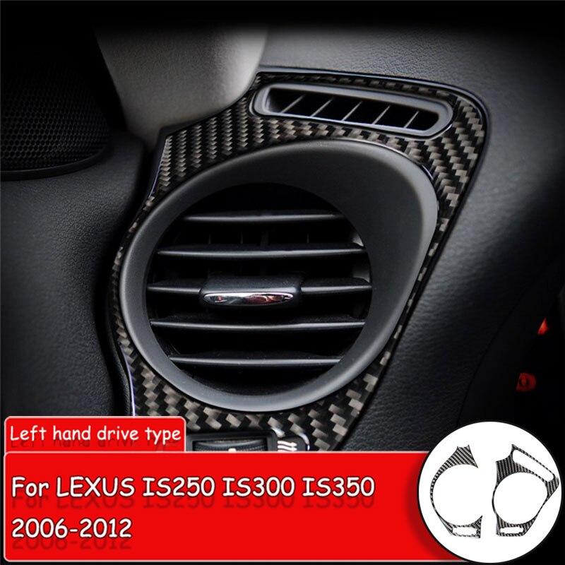 2 unids/set estilo de coche de fibra de carbono de la etiqueta engomada para LEXUS IS250/300/350/2006-12-12 lado aire acondicionado salida cubierta de la etiqueta engomada