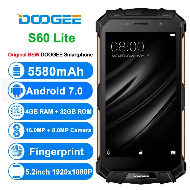 Global Version DOOGEE S60 LITE Rugged Phone IP68 Waterpoof Dustproof Wireless Mobile Phone 5580mAh 4GB 32GB NFC MTK6750T Chip