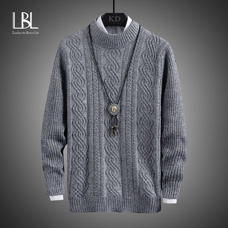 Mens Turtleneck Sweaters LBL New Pullovers Winter Warm Casual Solid Knitted Wool Sweater Fashion Men Pullover Homme