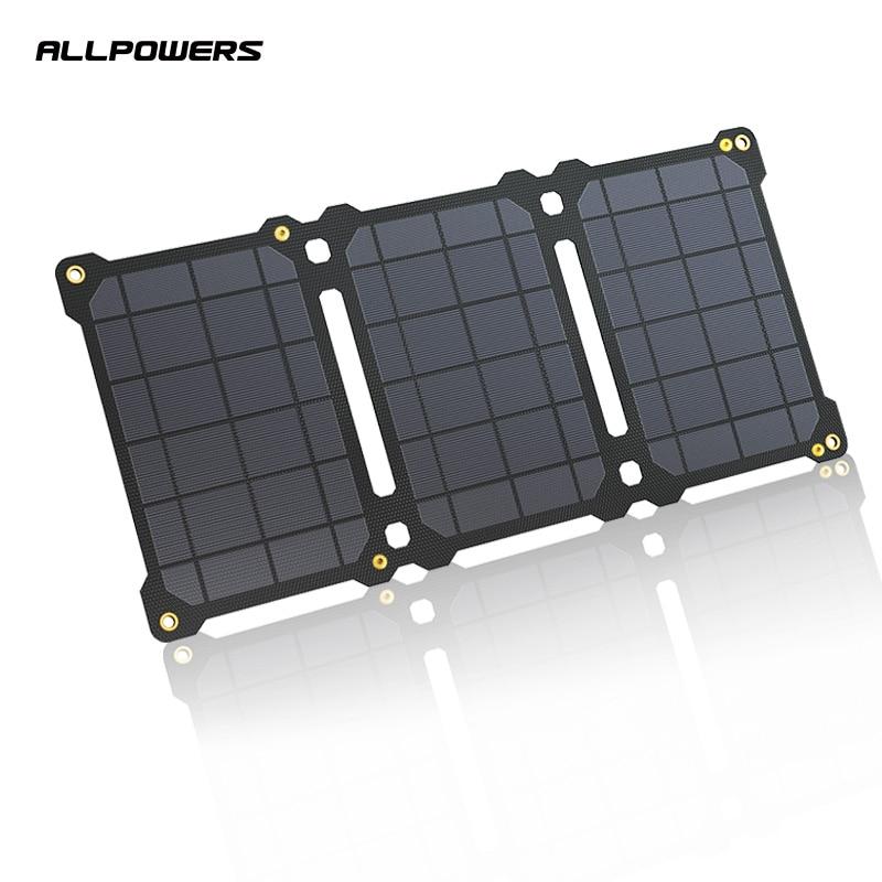 ALLPOWERS-لوحة شمسية 5 فولت ، 21 واط ، USB ، للهاتف الخلوي ، شاحن خارجي ، خلايا شمسية قابلة للطي