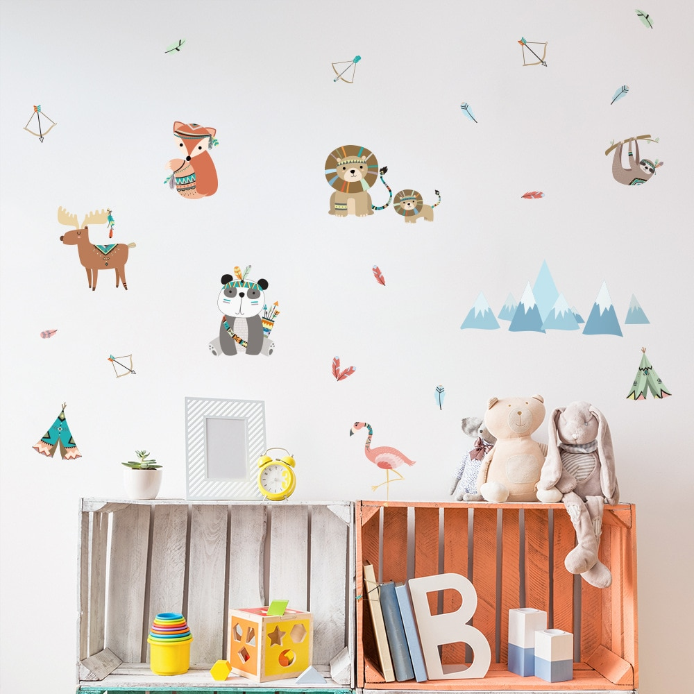 Funlife Cartoon Animal Wall Stickers,Fox Bear Elk Fairy Tales Mural Wall Decals For Kids Baby Room,DIY Children Room Decoration