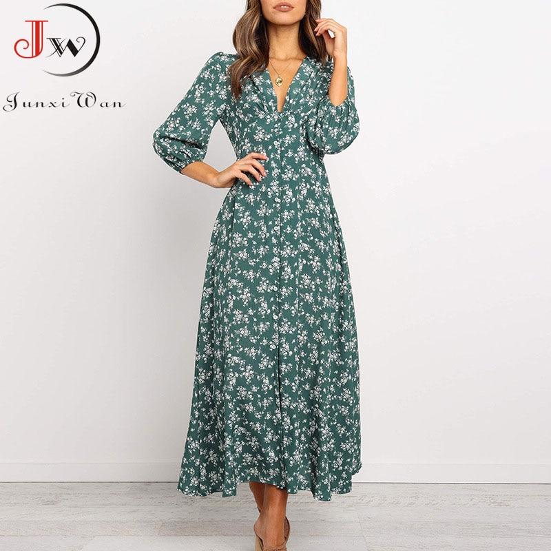 Women Chiffon Long Dress Floral Print Lantern Sleeve A-line Maxi Vestidos Autumn New Elegant Vintage