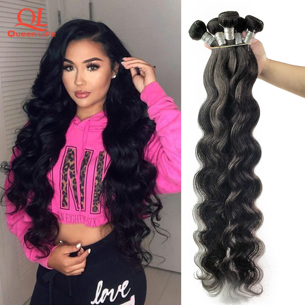 Queenlife 30 32 34 36 38 40 inch Body Wave Bundles Brazilian Hair Weave Bundles 100% Human Hair Bundles 1/3/4 Pieces Remy Hair