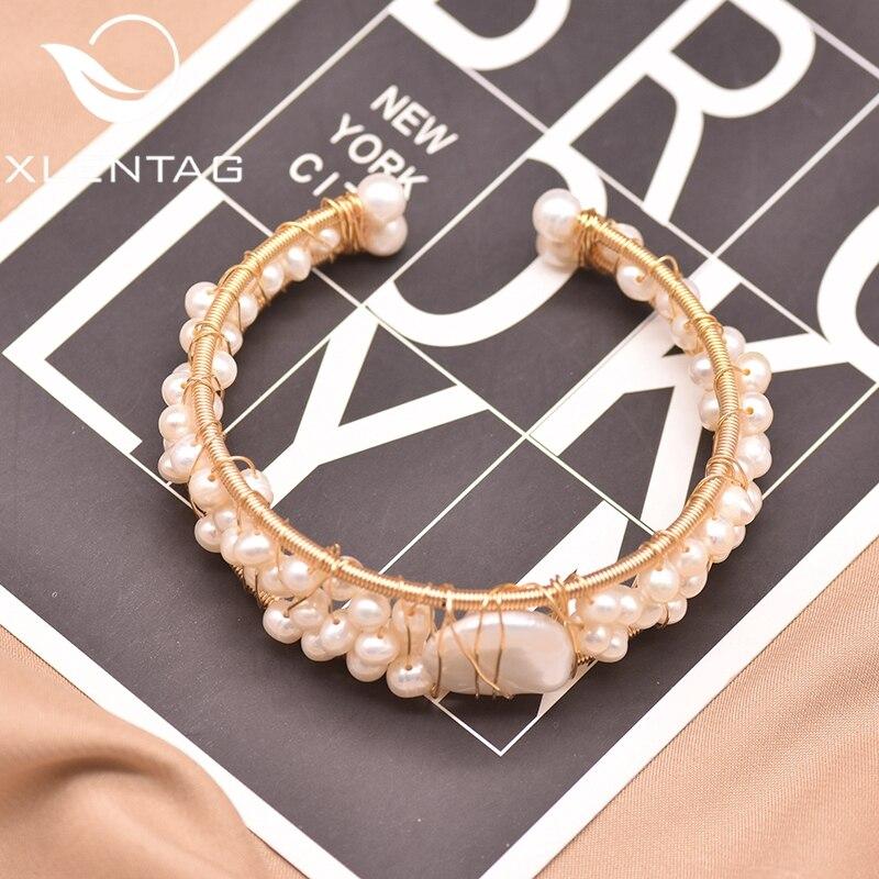 XlentAg, diseño Original, agua dulce Natural, Perla Barroca, brazalete abierto para mujeres, boda, lujo, joyería GB0115