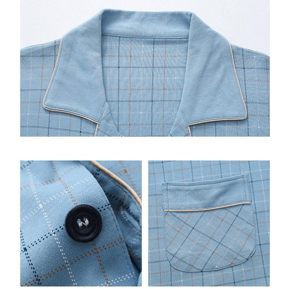 100% 25 хлопок плед пижамы комплект мода лацкан одежда для сна костюм повседневный кардиган с карманами мужской пижама домашняя одежда одежда плюс размер