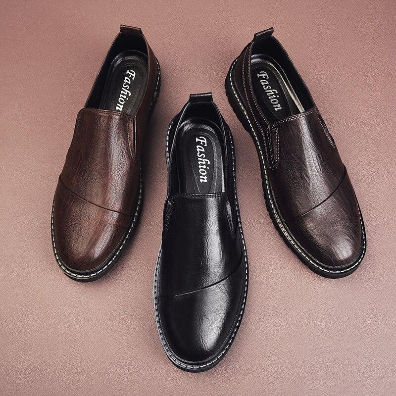 حذاء موكاسين من الجلد للرجال ، مصنوع يدويًا ، مسامي ، خفيف الوزن ، غير رسمي