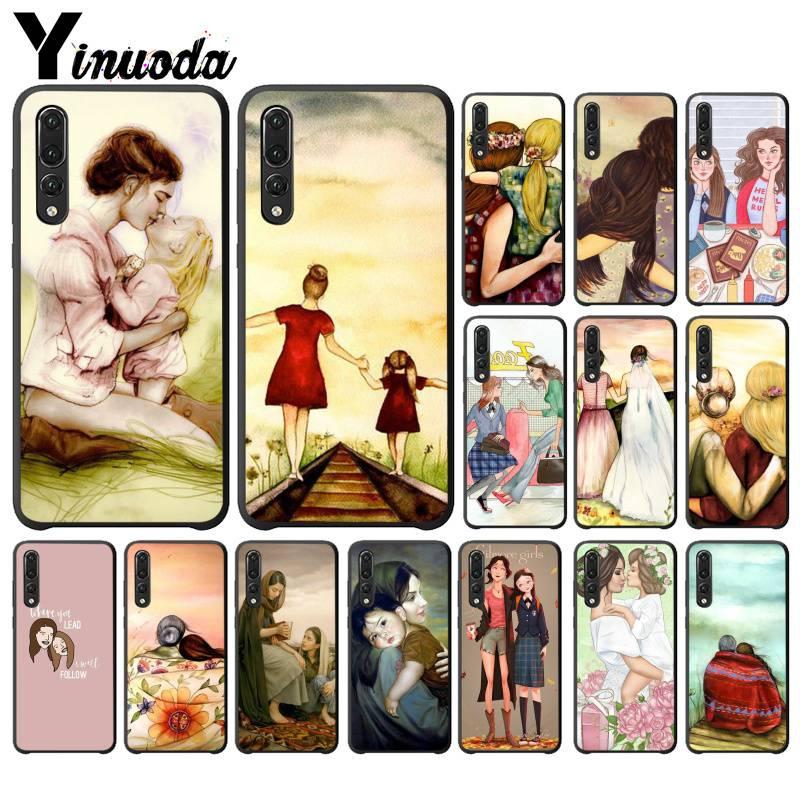 Yinuoda Gentle beautiful mother cute child TPU black Phone Case Shell for Huawei Y6 7 2019 MATE 10 LITE PRO 9 20 X Pro 20 lite