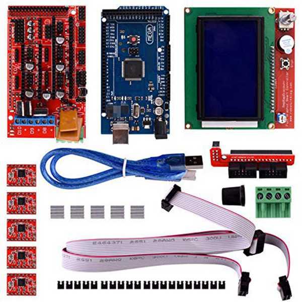 ملحقات طابعة ثلاثية الأبعاد 12864 عرض Mega 2560 Ramps 1.4 4988 محرك متدرج محرك مع مشعاع مع محول