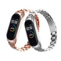 Ремешок из нержавеющей стали для браслета Xiaomi Mi Band 4 3, металлический браслет для смарт-часов, аксессуары для наручных часов Correa mi Band 3 4