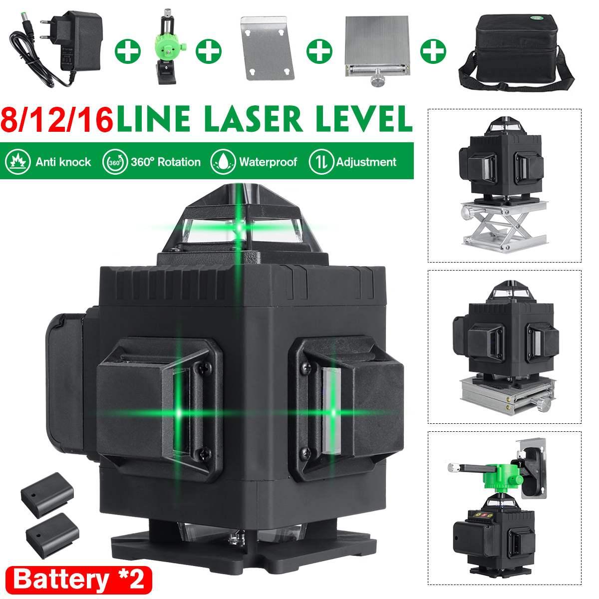 16 خطوط 4D الأخضر مستوى الليزر مع 2 بطاريات الذاتي الإستواء اللاسلكية التحكم عن بعد 360 الأفقي الرأسي عبر جدار قوس