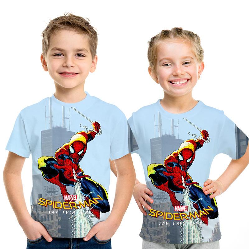 2019 nueva película Spider-Man lejos de casa 3D impreso niños camiseta Super héroe Spiderman bebé niños camiseta de dibujos animados