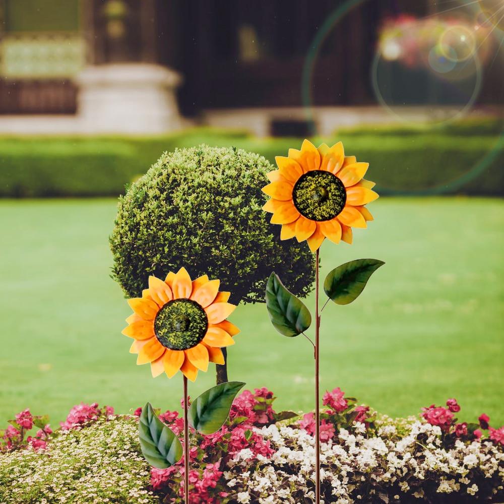 1pc Sunflower Spinning Windmill Metal Sunflower Windmill Gardening Decoration Iron Sun Flower Outdoor Lawn Decor Wind Spinners