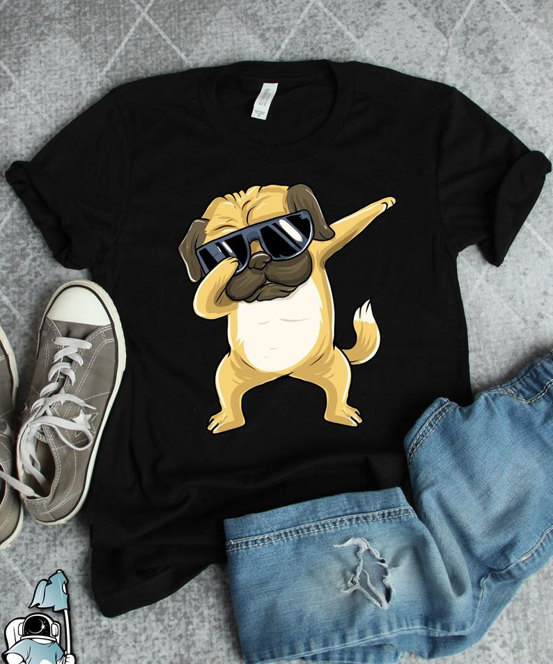 Dabbing Pug Shirt, Owner, Funny Art, Dog Lover Gifts Cute dog T-shirt summer casual cotton top Love