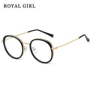 ROYAL GIRL Retro Round Clear Lens Glasses Women Fashion Metal Optical Glasses Frames Women ss547