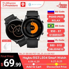 YouPin Haylou RS3 LS04 Smart Watch 1.2-Inch AMOLED Screen GPS 5ATM Waterproof Heart Rate Monitor Spo