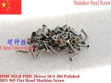 Vis en acier inoxydable M2x8   Tête plate 0 # Phillips, pilote DIN 965 en acier poli 100 pièces