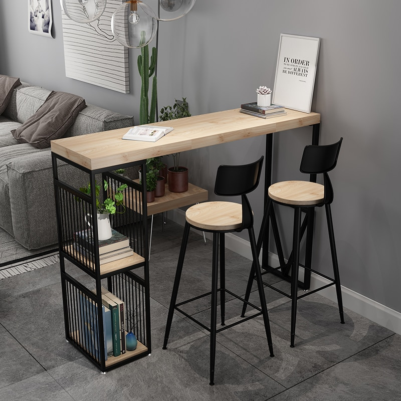 الشمال الحد الأدنى المنزل المطبخ طاولة بسطح عالٍ خشب متين الطاولات الطويلة الحديثة ضد الجدار عالية الشرفة طاولة جانبية