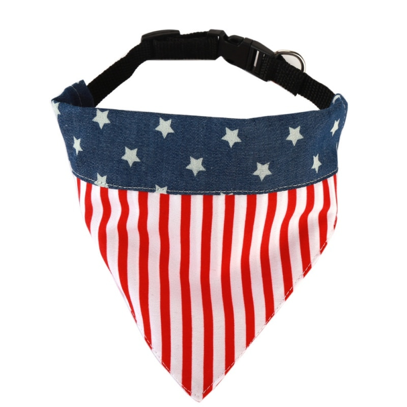 Moda perro Bandana bandera americana pañuelo para perro doméstico algodón ajustable babero cachorro collar ornamental