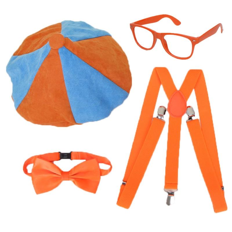 4pcs/set Blippi Dress Up Set Blippi Hat Cap Bowtie Glasses Blippi Birthday Party Decoration Balloons