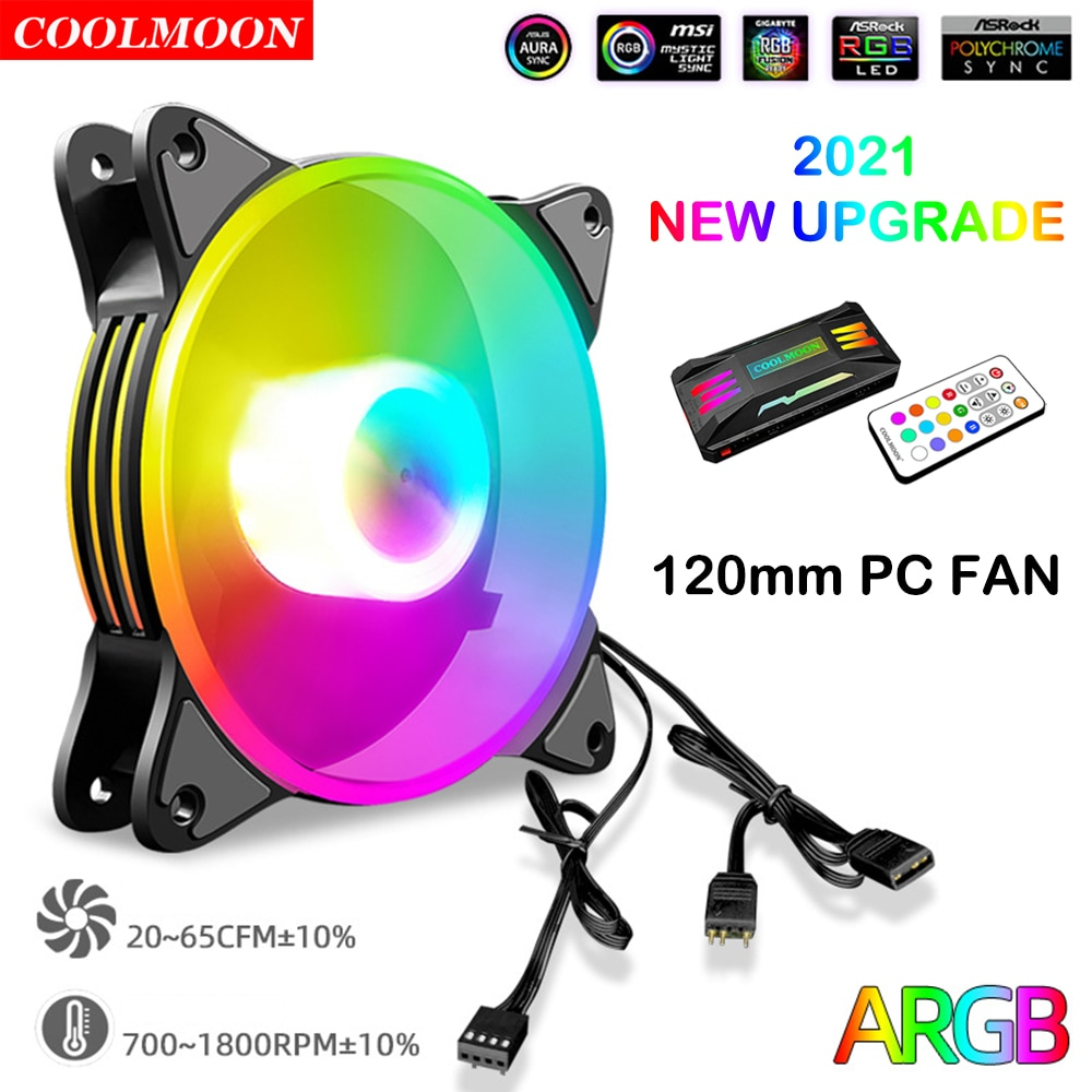 Coolmoon 120mm PC Chassis ARGB Fan 5V 3Pin 4Pin PWM Cooler Magic Moon Heatsink Radiator for Computer Water Cooling Accessories