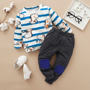 2-piece Baby / Toddler Dinosaur Striped Top and Pants Set