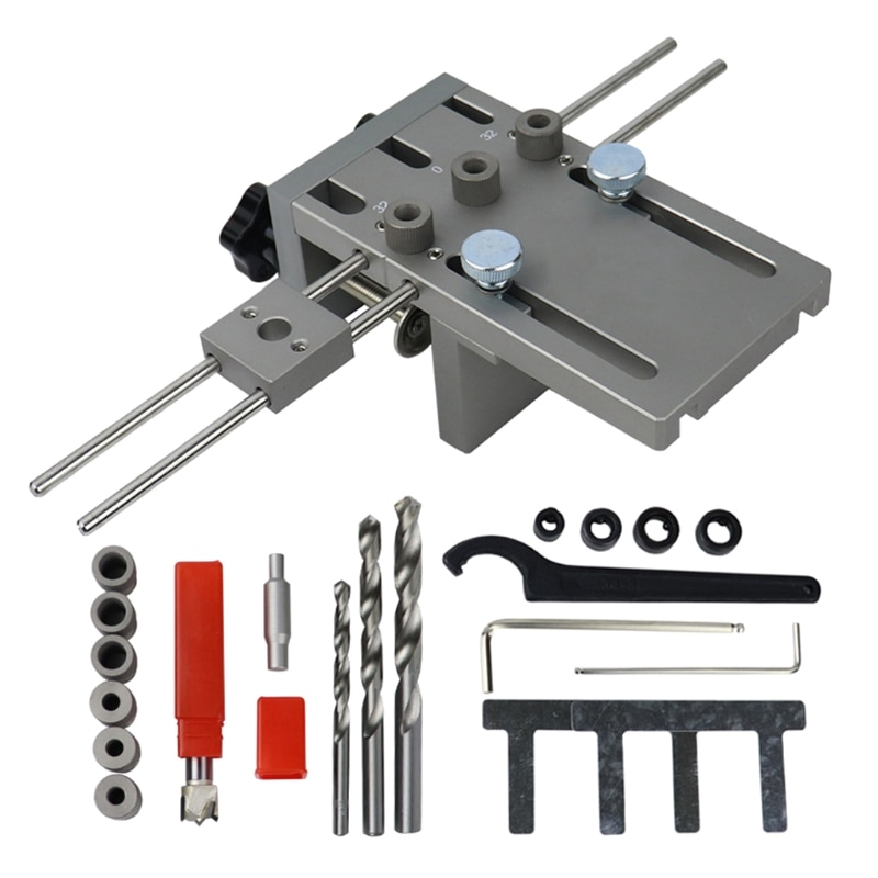 3 in 1 Woodworking Hole Drill Punch Positioner Guide Locator Dowelling Jig 6/8/10mm Bits Kit DIY Carpentry Tool KX4B
