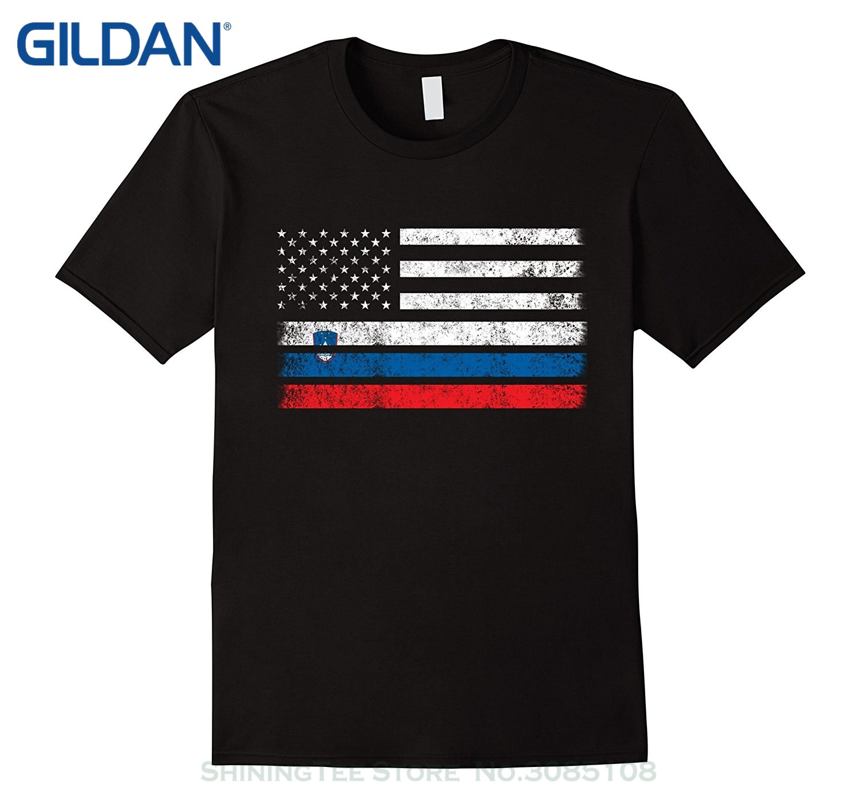 Camisetas con estampado divertido de moda de verano bandera estadounidense de esloveno-camisa de EE. UU.