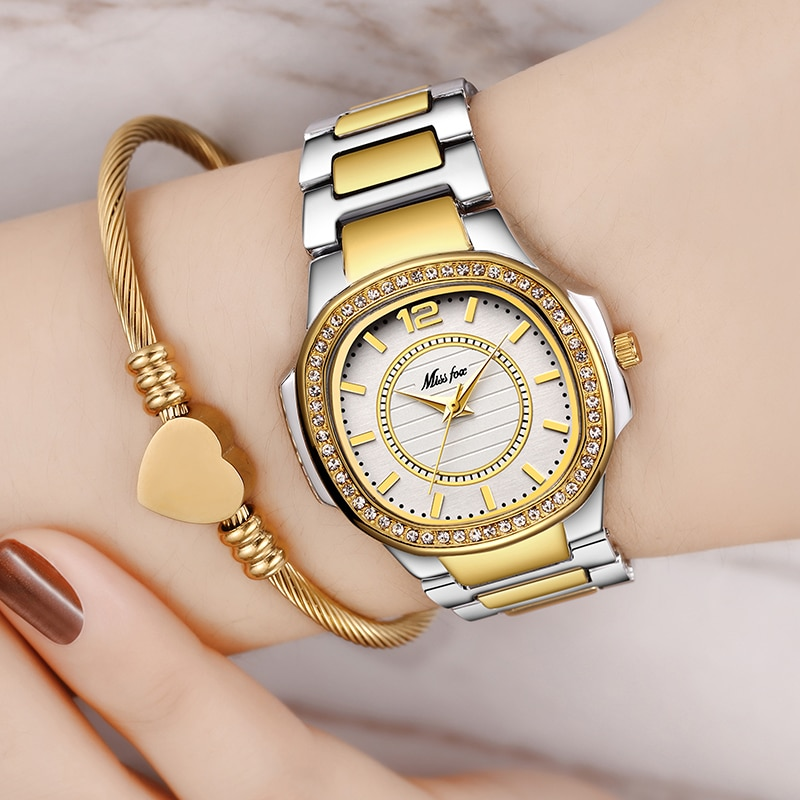 MISSFOX Arabic Numbers Women's Watches with Diamond Decorated Riley Stainless Steel Bracelet Fashion Dress Glitz Quartz Watch enlarge