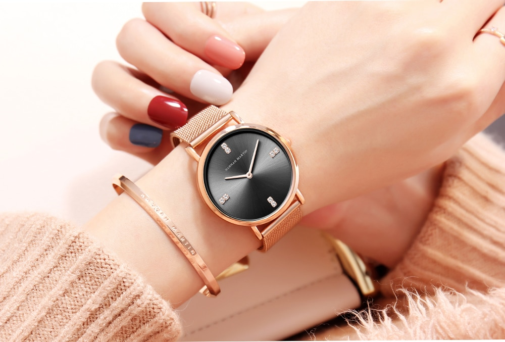HM Stainless Steel Mesh Band Japan Quartz Movement Watch Women Rhinestones Water and Shock Resistant Luxury WristWatch HM04 enlarge