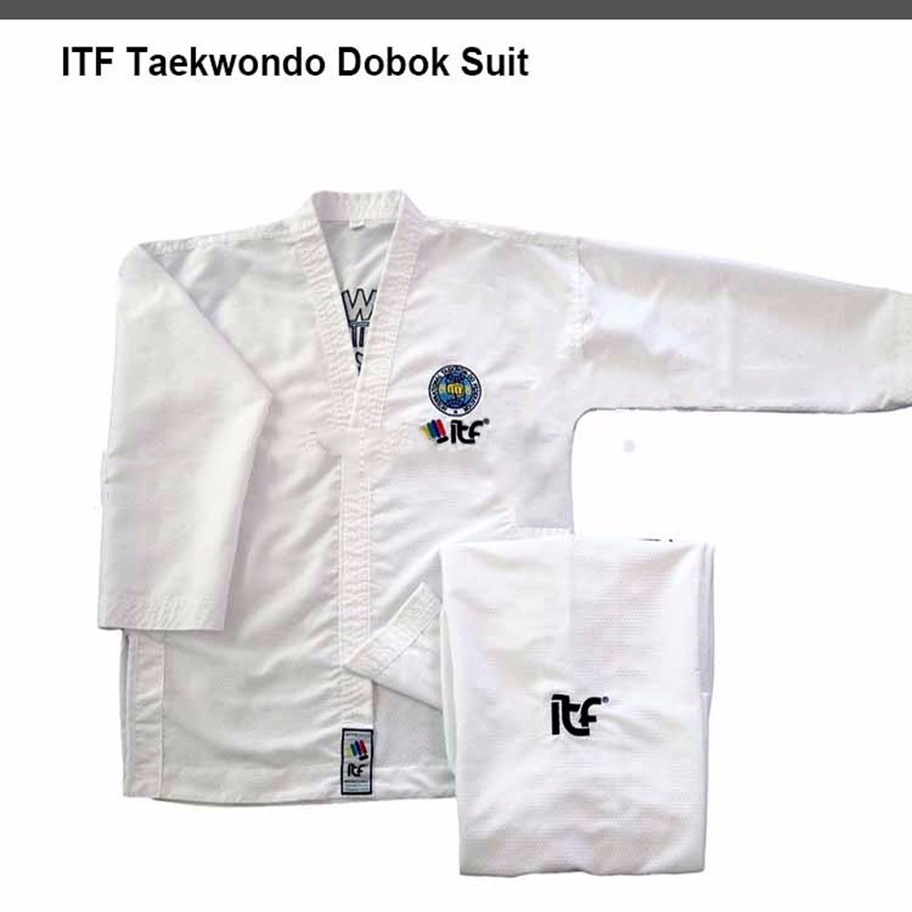 2020 ITF الموافقة على التايكوندو القطن الأبيض طالب كيمونو Doboks مع نمط التطريز كيمونو التايكوندو موحدة للأطفال الكبار