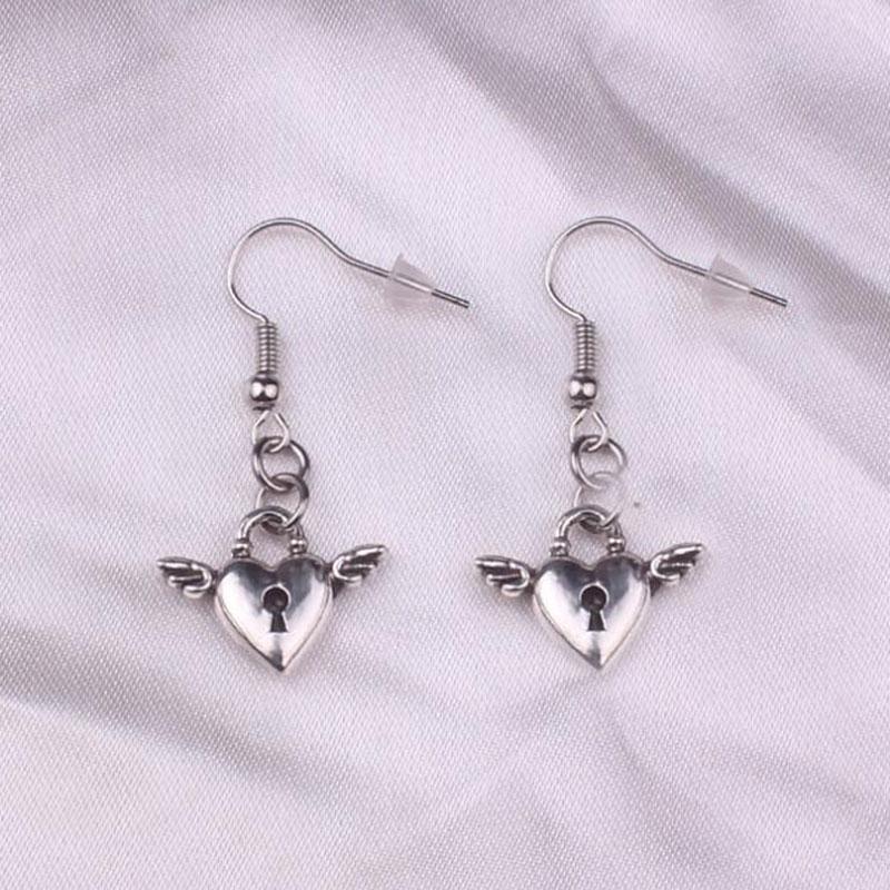 Antique e-girl Silver Color fly heart lock key cross heart Charm Drop Earring  Dangle Earrings For Womens jewelry birthday gifts