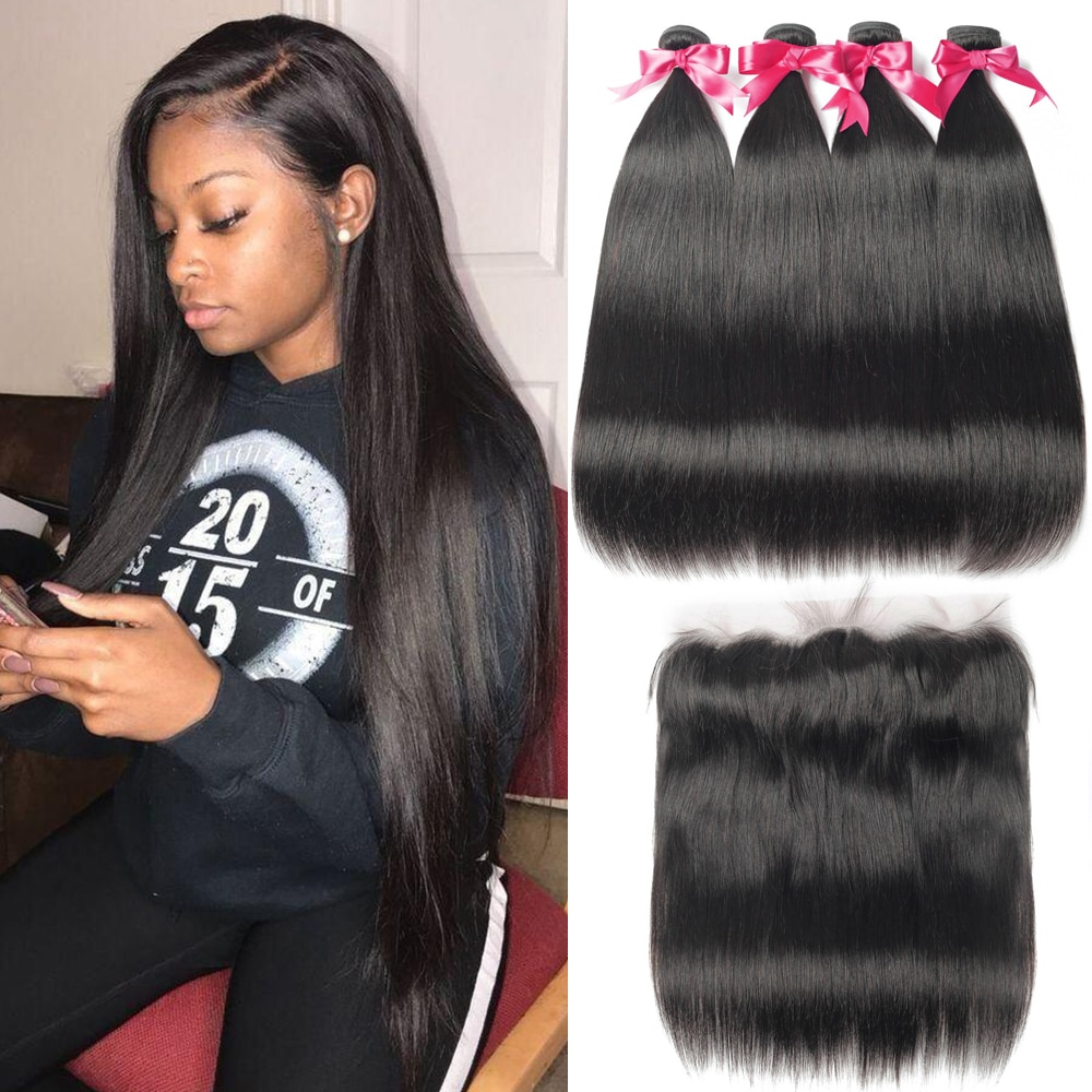 Straight Hair Bundles With Frontal 13*4 Lace Closure Brazilian Hair Weave Bundles 28 30 Inch Human H