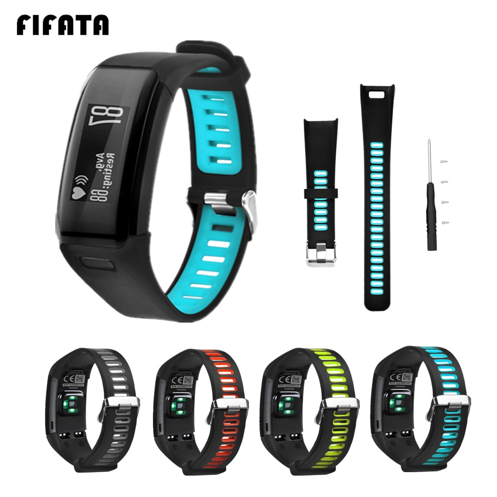 FIFATA For Garmin Vivosmart HR Smart Band Sports Silicone two-tone Watchbands For Garmin Vivo Replacement Smart HR Bracelet